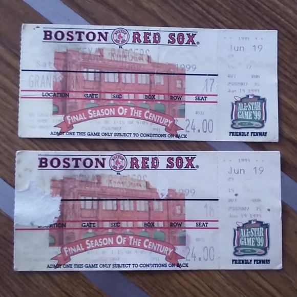 Vintage Boston Red Sox Tickets